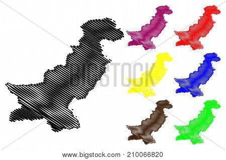 Pakistan map vector illustration , scribble sketch Pakistan