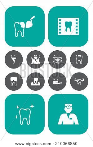 Collection Of Dental Crown, Roentgen, Dentist And Other Elements.  Set Of 12 Dentist Icons Set.