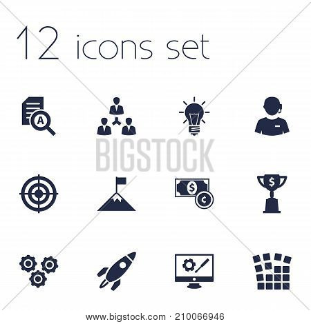 Collection Of Rocket, Goblet, Call Center And Other Elements.  Set Of 12 Idea Icons Set.