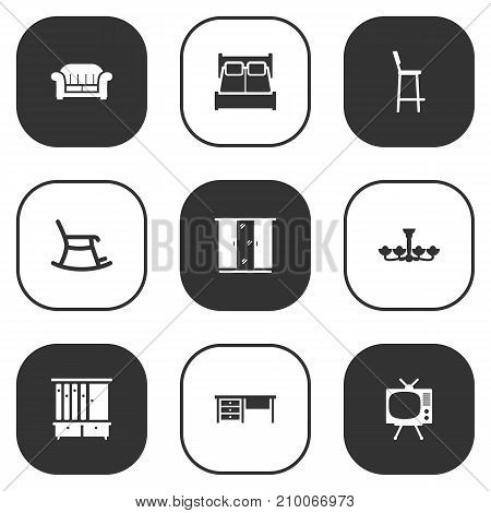 Collection Of Wardrobe, Rocking Furniture, Worktop And Other Elements.  Set Of 9 Set Icons Set.