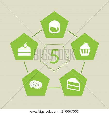 Collection Of Shortcake, Pastry, Sweetmeat And Other Elements.  Set Of 5 Pastry Icons Set.