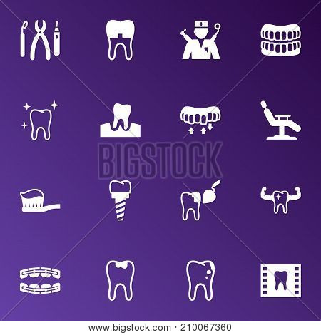 Collection Of Brace, Roentgen, Stabilize And Other Elements.  Set Of 16 Teeth Icons Set.