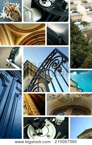 Luxurious architecture and objects on a collage