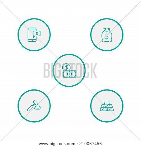 Collection Of Electronic Payment, Auction, Moneybag And Other Elements.  Set Of 5 Budget Outline Icons Set.