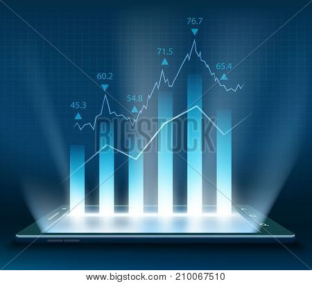 Stock Market Data On The Smartphone Screen. Graph With Financial Information. Vector Illustration.