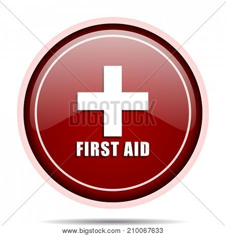 First aid red glossy round web icon. Circle isolated internet button for webdesign and smartphone applications.