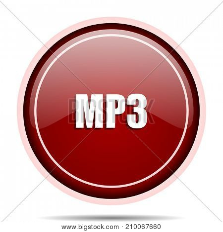 Mp3 red glossy round web icon. Circle isolated internet button for webdesign and smartphone applications.