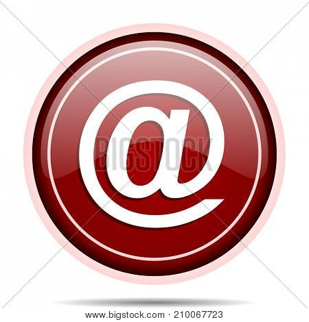 Email red glossy round web icon. Circle isolated internet button for webdesign and smartphone applications.