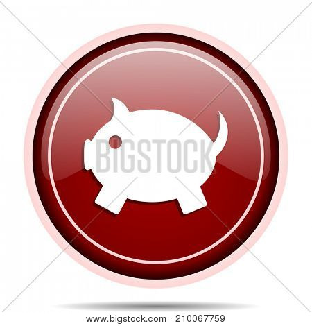 Piggy bank red glossy round web icon. Circle isolated internet button for webdesign and smartphone applications.
