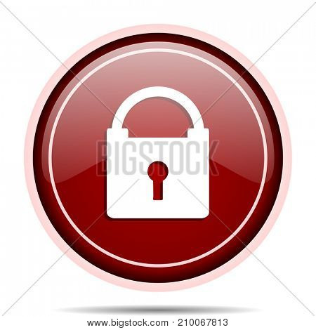 Padlock red glossy round web icon. Circle isolated internet button for webdesign and smartphone applications.