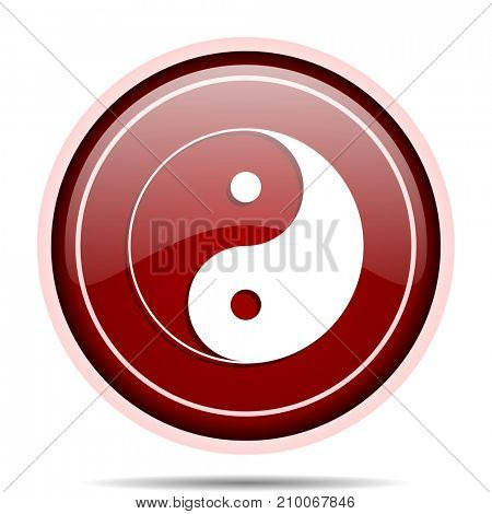 Ying yang red glossy round web icon. Circle isolated internet button for webdesign and smartphone applications.