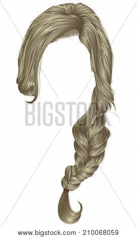 trendy women hairs blond colour . plait .  fashion beauty style .