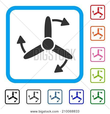 Three Bladed Screw Rotation icon. Flat grey iconic symbol inside a light blue rounded rectangle. Black, gray, green, blue, red, orange color variants of Three Bladed Screw Rotation vector.