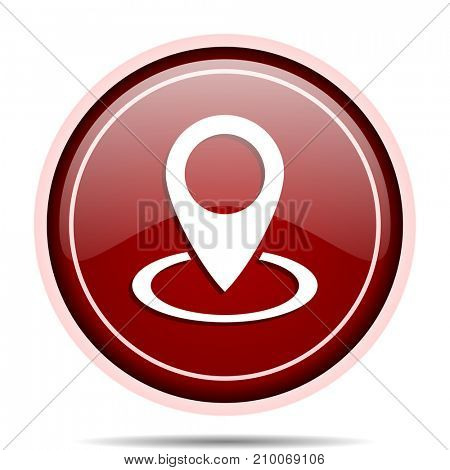 Pointer red glossy round web icon. Circle isolated internet button for webdesign and smartphone applications.