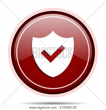Shield red glossy round web icon. Circle isolated internet button for webdesign and smartphone applications.