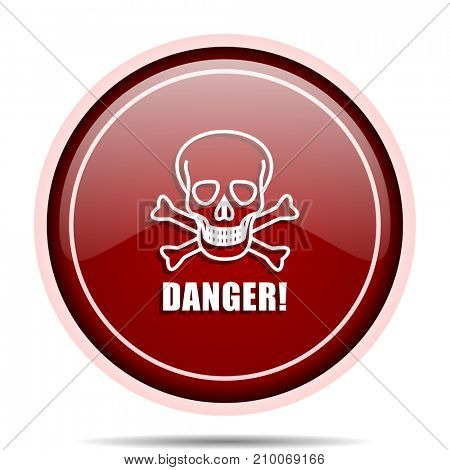 Danger skull red glossy round web icon. Circle isolated internet button for webdesign and smartphone applications.