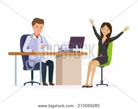 Modern medicine, healthcare system. Medical aid at doctor's office in the clinic. Doctor therapist works with patient, research personal card, patient happy from positive result. Vector Illustration