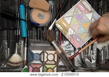 tools makeup in a beauty salon . Photos in the studio