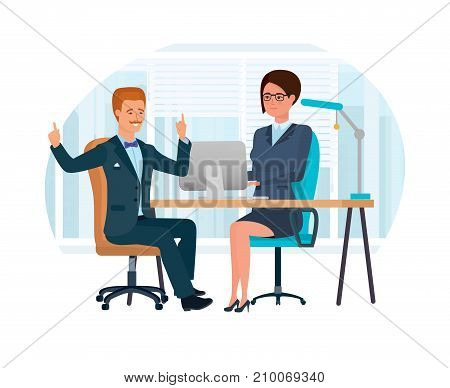 Girl, an office worker, employee, in her office at desk, discusses cooperation with a client, creative, constructive man. Joint work, cooperation, partnership, business meeting Vector illustration