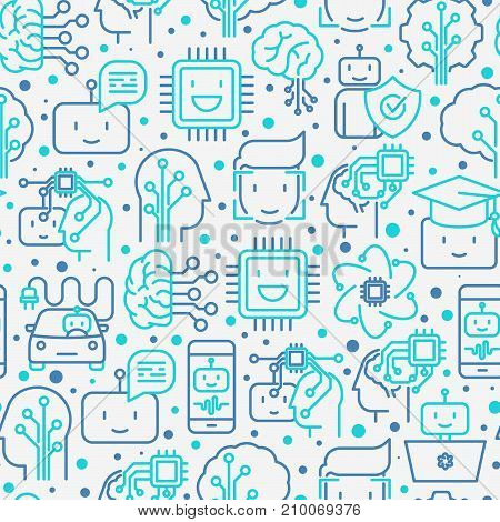 Machine learning and artificial intelligence seamless pattern with thin line icons. Vector illustration for banner, web page, print media.