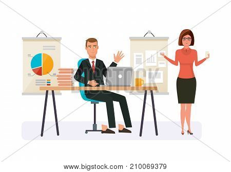 Businessman working cartoon character person in different situations. Office worker with office table. Joint work, cooperation, partnership. Joint presentation, business report. Vector illustration.