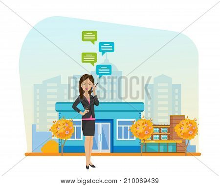 Girl in beautiful clothes, walks in autumn park resting, in hand holding phone with mobile chat, communicate through messenger, social networks. Sending message in mobile via chat. Illustration.