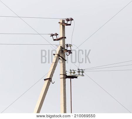 electric pole in nature . In the park in nature