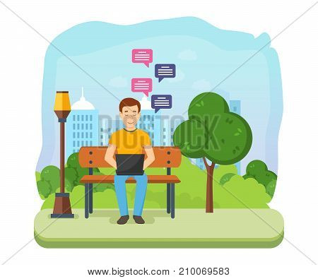 Young people with gadgets in summer park. Man running remotely on freelance, job on laptop on bench in summer park, communicates through social networks. Sending message via chat. Vector illustration.