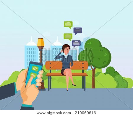 Summer park of rest, walking park. Summer park with green tree, grass. Girl resting in park on bench, communicate through social networks, mobile chat. Sending message via chat. Vector illustration.
