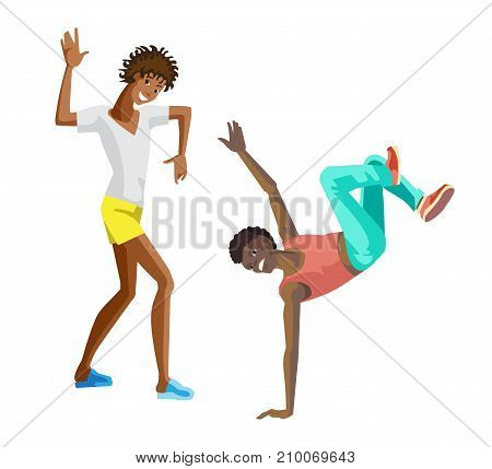 Beautiful, sporting dancing guys, teenagers, boys in modern dance styles with different movements. Popular dances, rhythmic movements, musical style. Illustration in cartoon style.