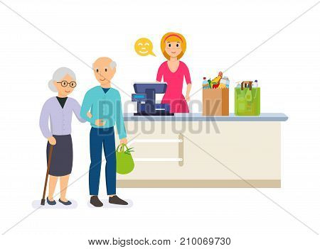 Store shopping. Shop, supermarket interior, healthy eating, products. Family walking around store and takes fresh food. Retail women cashier and family with purchases. Modern vector illustration.