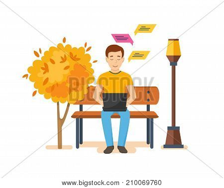 Young people with gadgets in autumn. Man running remotely on freelance, job on laptop on bench in autumn park, communicates by phone, through messenger, social networks. Vector illustration.