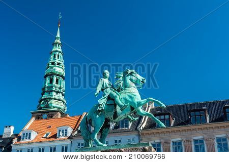 Copenhagen, Denmark - september 3, 2017: The equestrian statue of Absalon the warrior-bishop who has traditionally been credited as the founder of Copenhagen. It was inaugurated in 1901 to commemorate the septcentennial of his death.