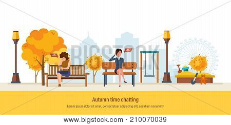 Autumn time chatting. Autumn kids playground, walking city park with seasonal leaves. Girls resting in park, talking in chat and social networks, send sms message, voice dialogue. Vector illustration.