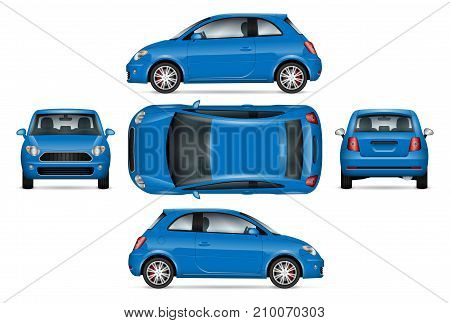 Blue mini car vector mock up for car branding advertising and corporate identity. Isolated minicar set on white background. All layers and groups well organized for easy editing and recolor.