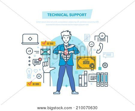Technical support, call center, consultation, communications, technology, system consulting clients. Support service. superhero in technical assistance. Illustration thin line design of doodles.