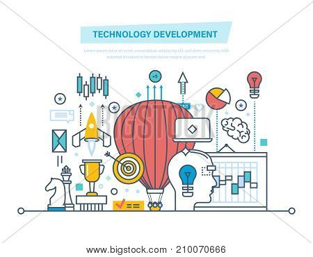 Technology development concept. Start-up, creative, modern information technology, business processes, implementation of ideas. Illustration thin line design of vector doodles, infographics elements.