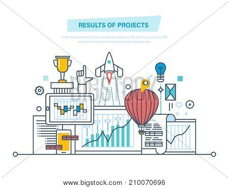 Results of projects. Planning, project management, time control. Risk analysis, strategy, successful business start, success, achievements. Illustration thin line design of vector doodles.