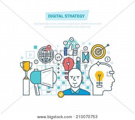 Digital strategy. Digital marketing, management, media planning, analysis, advertising, marketing platform, online business and purchasing, statistics. Illustration thin line design of vector doodles.