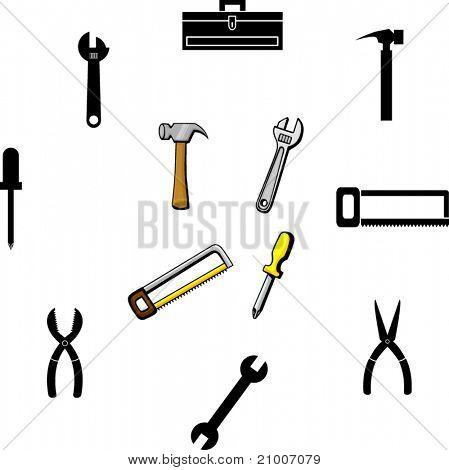 hand tools illustrations and symbols set