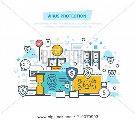 Virus protection and attack. Protection of data, payments, financial security, information technology, communications, protection from virus. Illustration thin line design of vector doodles.