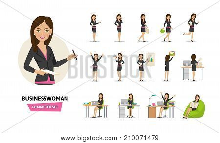 Set of businesswoman working cartoon character in office work situations. Young clerk woman in office clothes. Different poses and emotions, gestures, actions. Vector illustration front, rear view.