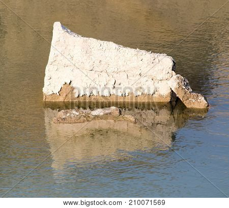 a large stone in the water . In the park in nature