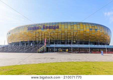 GDANSK, POLAND - October 10, 2017. The Stadion Energa Gdansk is a football stadium located in nothern Poland. The stadium was one of the Euro 2012 hosts.