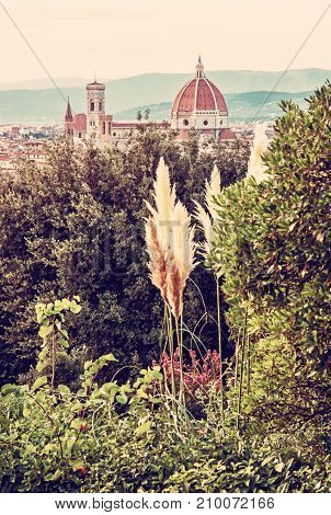 Florence city with Cathedral Santa Maria del Fiore and Campanile. Travel destination. Tuscany Italy. Cultural heritage. Old photo filter.