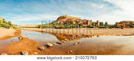 Panorama of the village Ksar Ait Benhaddou a famous film location and UNESCO World Heritage Site in Souss-Massa-Draa Morocco Africa.