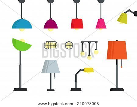 Lamps Set in Different colors. Modern style colored standing lamps.