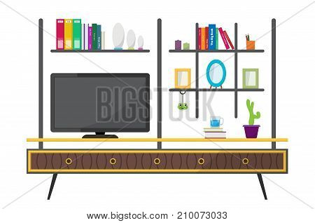 Tv table set and home decoration. Contemporary living room interior. Colorful furniture white background. Flat style vector illustration.