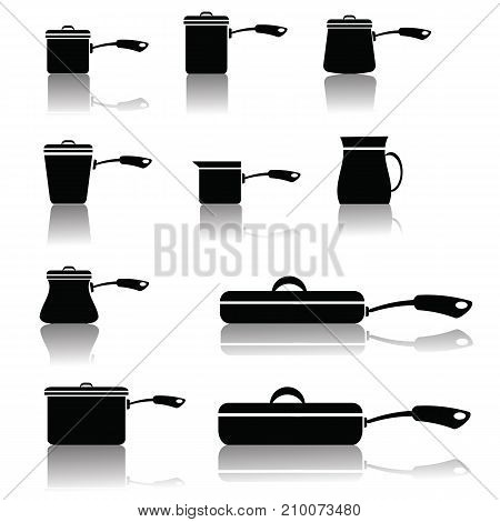 illustration with set of pots and pans isolated on white background