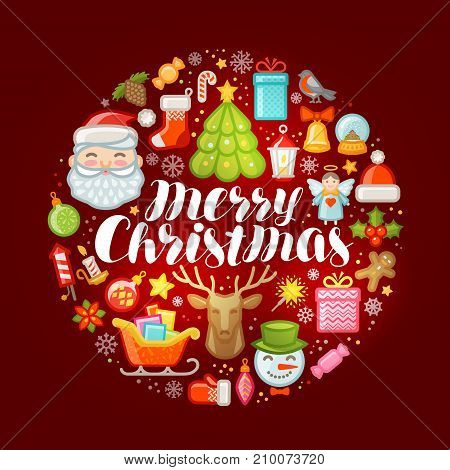 Xmas concept. Merry Christmas, greeting card or banner. Vector
